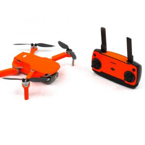 Neon Fluoro Orange Drone Skin Wrap Stickers for DJI Mavic Mini Front View with Remote control
