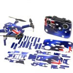 Aussie Flag Drone Skin Wrap Stickers for DJI Mini 2 Front View with Print Out