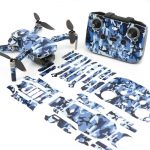 Blue Camo Drone Skin Wrap Stickers for DJI Mini 2 Front View with Print Out