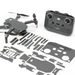 Carbon Fibre Black Drone Skin Wrap Stickers for DJI Mini 2 Front View with Print Out
