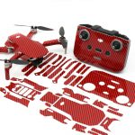 Carbon Fibre Red Drone Skin Wrap Stickers for DJI Mini 2 Front View with Print Out