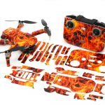 Fire n Flames Drone Skin Wrap Stickers for DJI Mini 2 Front View with Print Out