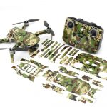 Green Camo Drone Skin Wrap Stickers for DJI Mini 2 Front View with Print Out