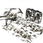 Grey Camo Drone Skin Wrap Stickers for DJI Mini 2 Front View with PrintOut
