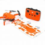 Neon Fluoro Orange Drone Skin Wrap Stickers for DJI Mini 2 Front View with Print Out