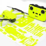 Neon Yellow Drone Skin Wrap Stickers for DJI Mini 2 Front View with PrintOut