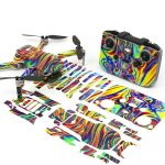 Psychedelic Drone Skin Wrap Stickers for DJI Mini 2 Front View with PrintOut
