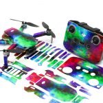 Rainbow Clouds Drone Skin Wrap Stickers for DJI Mini 2 Front View with PrintOut