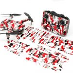 Red Camo Drone Skin Wrap Stickers for DJI Mini 2 Front View with Print Out