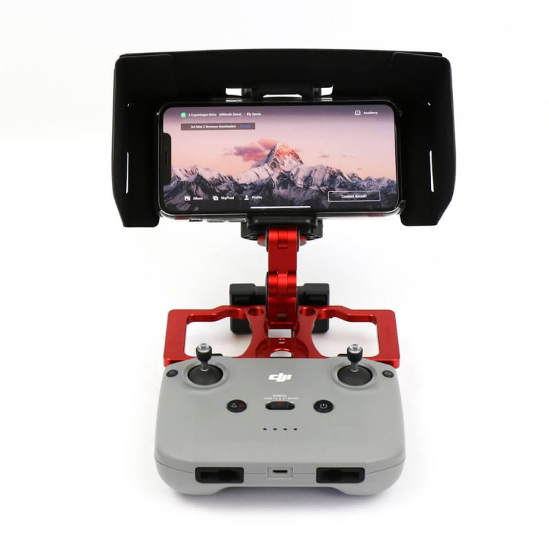 Phone Sunhood for DJI Remote Control Shown assembled on Remote Control with aluminium tablet holder extended and phone from front